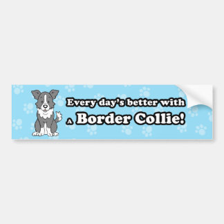 Cute Cartoon Border Collie Bumper Sticker