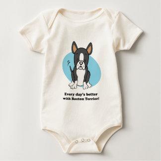 Cute Cartoon Boston Terrier Baby Tee