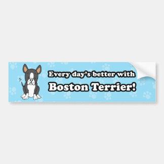 Cute Cartoon Boston Terrier Bumper Sticker Car Bumper Sticker