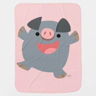 Cute Cartoon Bouncy Pig Baby Blanket