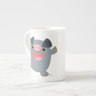 Cute Cartoon Bouncy Pig Bone China Mug