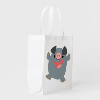 Cute Cartoon Bouncy Pig Reusable Bag Grocery Bag