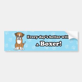 Cute Cartoon Boxer Bumper Sticker Car Bumper Sticker