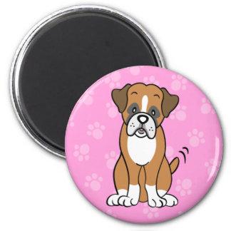 Cute Cartoon Boxer Round Magnet