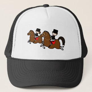 Cute cartoon boy girl riding dressage horses trucker hat