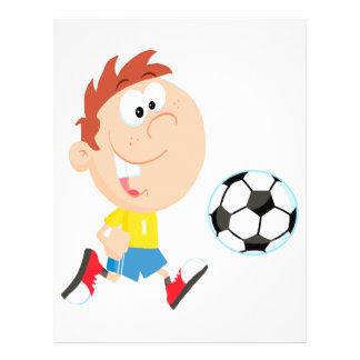 cute cartoon boy kicking soccerball full color flyer