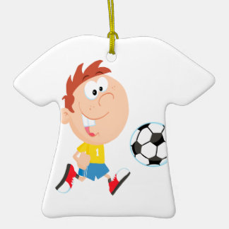 cute cartoon boy kicking soccerball Double-Sided T-Shirt ceramic christmas ornament