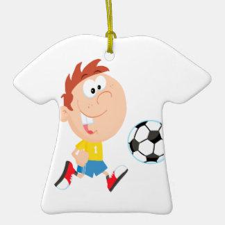 cute cartoon boy kicking soccerball Double-Sided T-Shirt ceramic christmas ornament