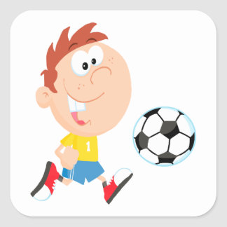 cute cartoon boy kicking soccerball square sticker