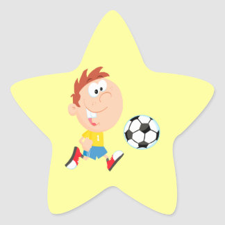 cute cartoon boy kicking soccerball star sticker