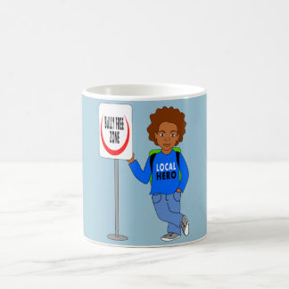 cute cartoon boy local hero bully free zone coffee mug
