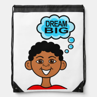 Cute Cartoon Boy Smiling Dream Big in Bubble Drawstring Bag