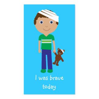 Cute Cartoon Boy & Teddy Bear Bravery Bookmarks Business Card
