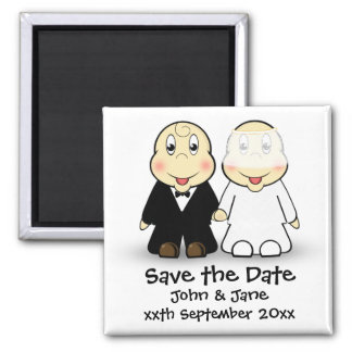 Cute Cartoon Bride and Groom Couple Save the Date 2 Inch Square Magnet