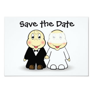 Cute Cartoon Bride and Groom Save the Date Card