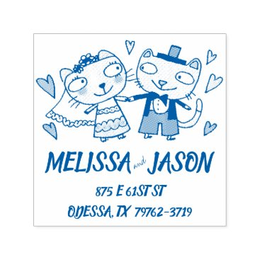 Bride Themed cute cartoon bride and groom wedding cats self-inking stamp
