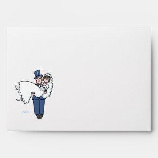 Cute Cartoon Bride and Groom Wedding Envelope