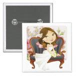 Cute Cartoon Bride Bridal Shower Button