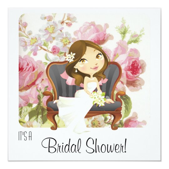 cute cartoon bride bridal shower invitation