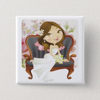 Cute Cartoon Bride Bridal Shower Pinback Button