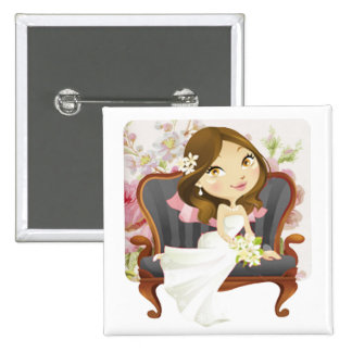 Cute Cartoon Bride Bridal Shower Pinback Button