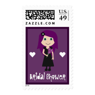 Cute Cartoon Bride Bridal Shower Purple Custom Postage