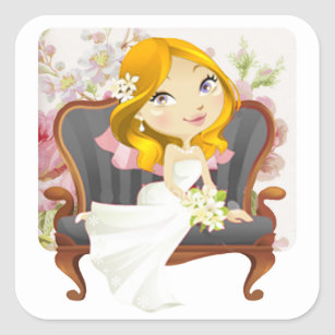 cute cartoon bride bridal shower square sticker