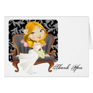 Cute Cartoon Bride Bridal Shower Thank You Greeting Card