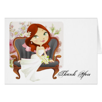 Cute Cartoon Bride Bridal Shower Thank You Card