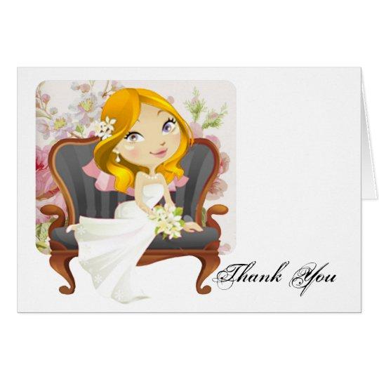 Cute Cartoon Bride Bridal Shower Thank You Card