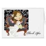 Cute Cartoon Bride Bridal Shower Thank You Cards