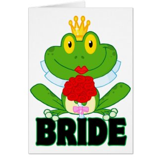 cute cartoon bride froggy frog with text card