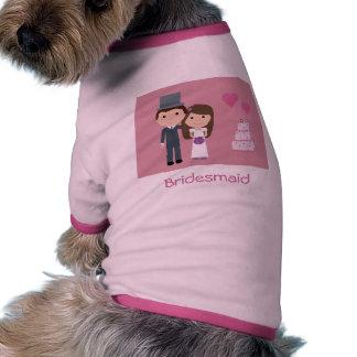 Cute Cartoon Bride & Groom Bridesmaid Dog Sweater Doggie Tee Shirt