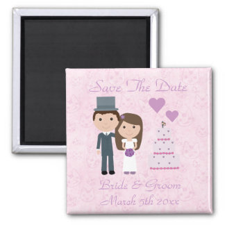 Cute Cartoon Bride, Groom, Cake & Cats 2 Inch Square Magnet
