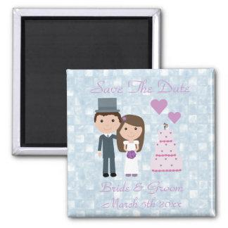 Cute Cartoon Bride, Groom & Cake Save The Date Magnet