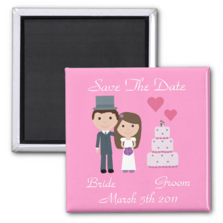 Cute Cartoon Bride, Groom & Cake Save The Date 2 Inch Square Magnet