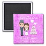 Cute Cartoon Bride, Groom & Cake Save The Date Fridge Magnet