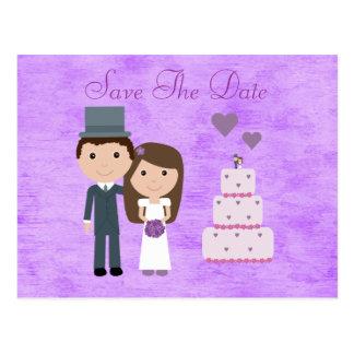Cute Cartoon Bride, Groom & Cake Save The Date Postcards
