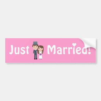 Cute Cartoon Bride & Groom Pink Just Married Bumper Stickers