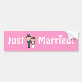 Cute Cartoon Bride & Groom Pink Just Married Car Bumper Sticker