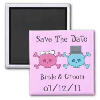 Cute Cartoon Bride & Groom Skulls Save The Date Magnet