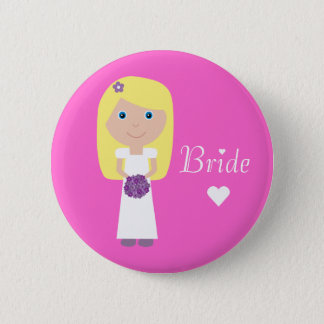Cute Cartoon Bride Pinback Button