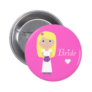 Cute Cartoon Bride Pinback Button