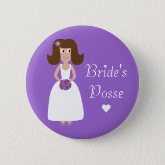 Cute Cartoon Bride's Posse Bachelorette Party Button