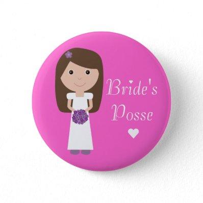 Cute Cartoon Bride's Posse Bachelorette Party Pink