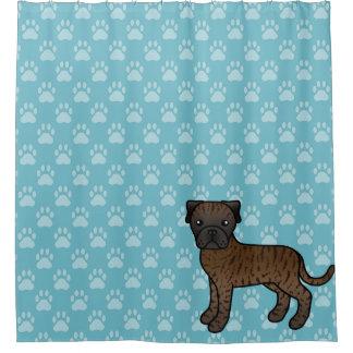 Cute Cartoon Brindle Bullmastiff Dog On Blue Shower Curtain