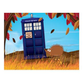 Cute Cartoon British Police box and hedgehog Postcard