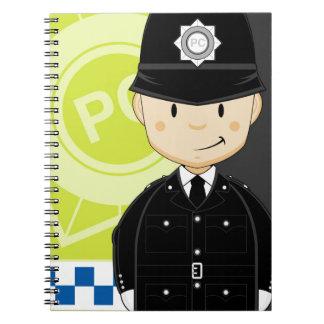 Cute Cartoon British Policeman Spiral Note Books