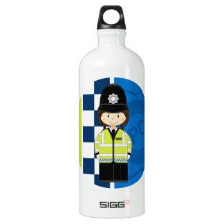 Cute Cartoon British Policeman Water Bottle