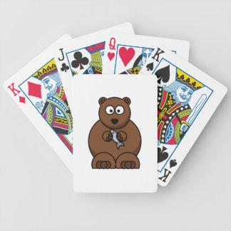 Cute Cartoon Brown Bear Bicycle Playing Cards
